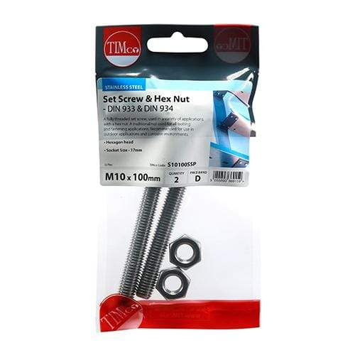 TIMCO Fasteners & Fixings Set Screws & Hex Nuts - Stainless Steel  M10 x 100 Set Screw & Hex Nut - A2 SS