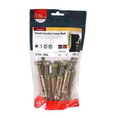 TIMCO Fasteners & Fixings Shield Anchor Loose Bolts - Yellow  M10:50L (M10 x 110) Shield Anchor Loose Bolt - ZYP