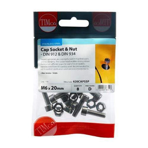 TIMCO Fasteners & Fixings Socket Screws - Cap - Stainless Steel  M6 x 20 Cap Socket Screws - A2 SS