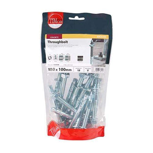 TIMCO Fasteners & Fixings Throughbolts - Zinc  M10 x 100 Throughbolt - BZP