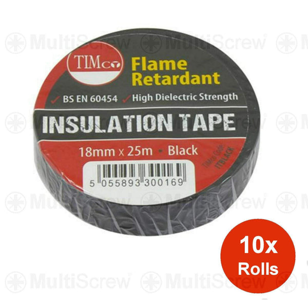 Timco Fixings 10 ROLLS OF BLACK ELECTRICAL PVC INSULATION INSULATING TAPE 18mm x 25m EU MADE