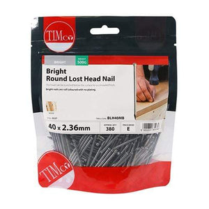 TIMCO Nails Round Lost Head Nails - Bright  40 x 2.36 Round Lost Head Nail - Bright
