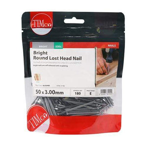 TIMCO Nails Round Lost Head Nails - Bright  50 x 3.00 Round Lost Head Nail - Bright