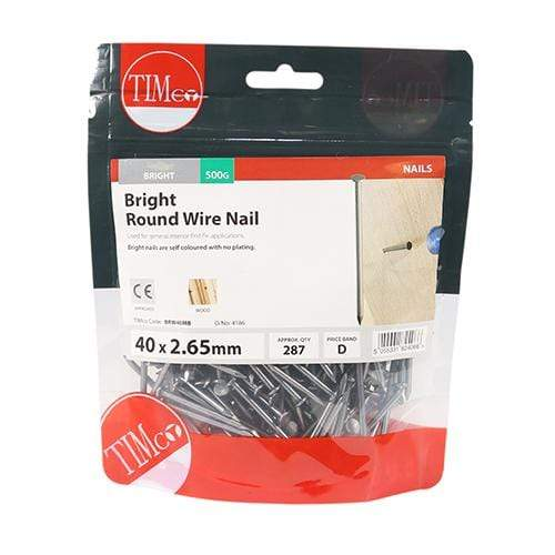 TIMCO Nails Round Wire Nails - Bright  40 x 2.65 Round Wire Nail - Bright