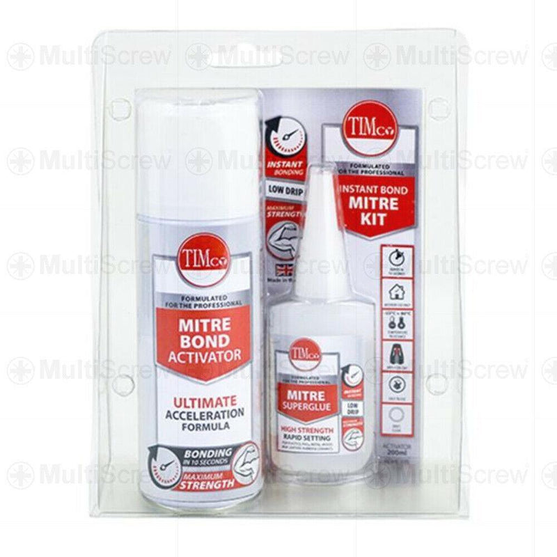 Timco Sealants & Adhesive 1 Kit INSTANT BOND MITRE KIT 200ML ACTIVATOR 50G SUPERGLUE INSTANT SET PVCU MDF TIMCO