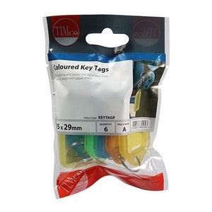 TIMCO Security & Ironmongery Coloured Key Tags  Mixed Colours Coloured Key Tags