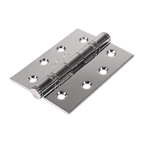TIMCO Security & Ironmongery Pair of Twin Ball Bearing Hinges - Steel - Polished Chrome  102 x 76 Steel BB Hinge Pol. Chrome