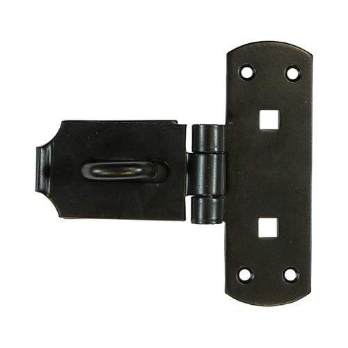 "TIMCO Security & Ironmongery Vertical Pattern Bolt On Hasp & Staple - Heavy Duty - Black  6"" Heavy Vertical Hasp-Staple BLK"