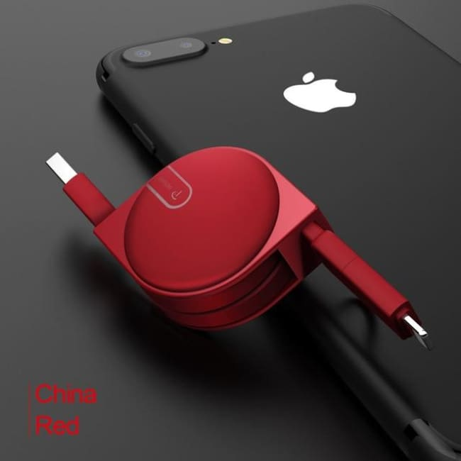 Amazing 2 In 1 Super Retractable Phone Charger Cord! (Iphone And Android Microusb) - Retractable - Red / 1M