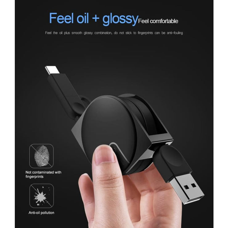 Amazing 2 In 1 Super Retractable Phone Charger Cord! (Iphone And Android Microusb)