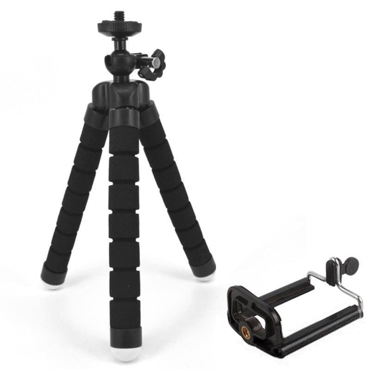Attach Anywhere - Flexible Smartphone Tripod Awesome For Influencers! - Black + Clip