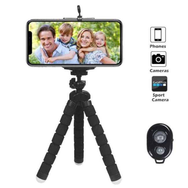 Attach Anywhere - Flexible Smartphone Tripod Awesome For Influencers! - Black + Clip + Remote