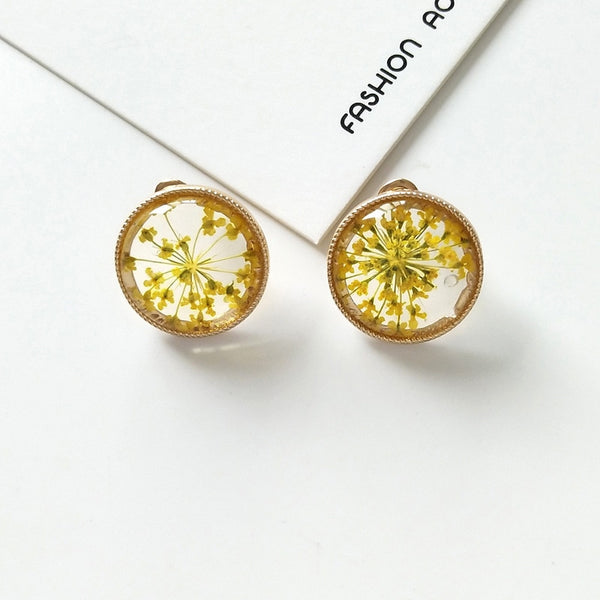 Bohemian Flower Specimen Stud Earrings