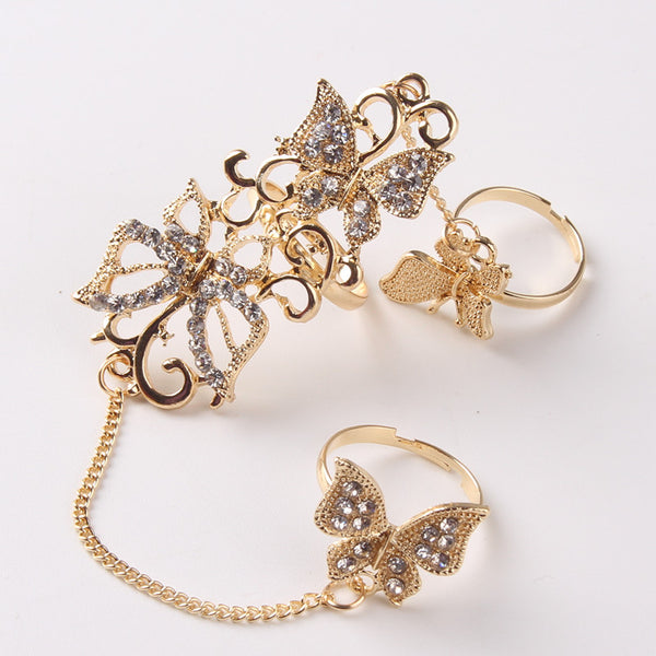 Flower Butterfly Full Finger Ring