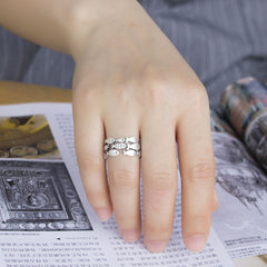Real 925 Sterling Silver Fish Adjustable Ring