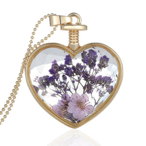 Heart glass purple real dried flower necklace