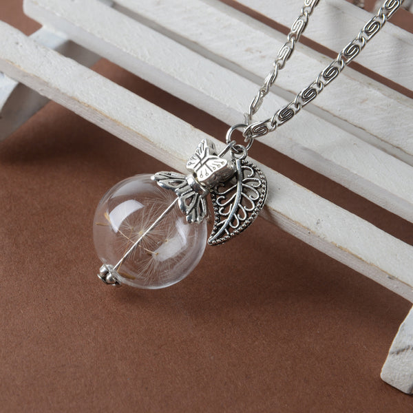 Glass bottle natural dandelion  Necklace