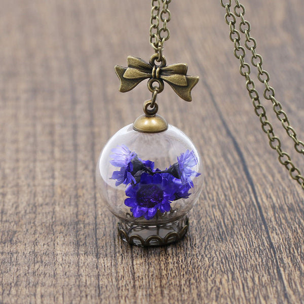 Romantic Glass Wishing Bottle Pendant Necklace