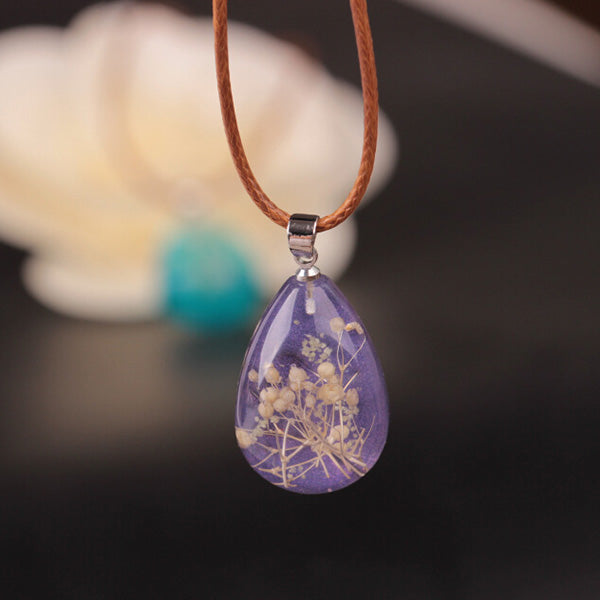 Dried Flower Water Drop Necklace