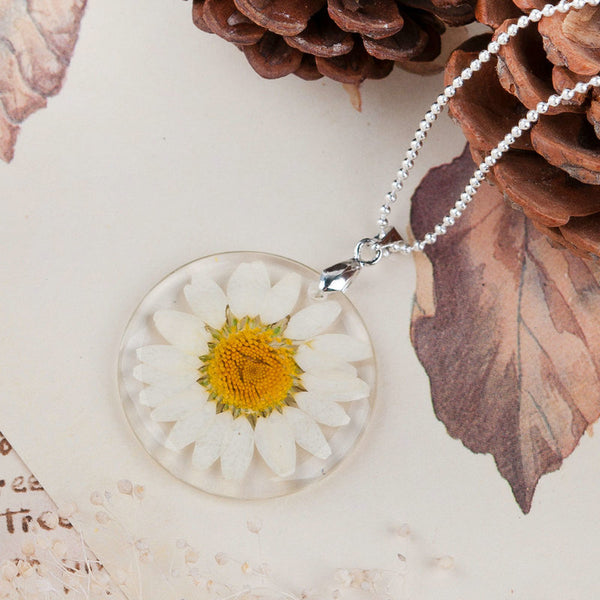 Real Dried Daisy Flower Necklace