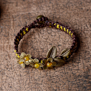 Ethnic Bronze Flower And Stone Copper Bell Bracelet