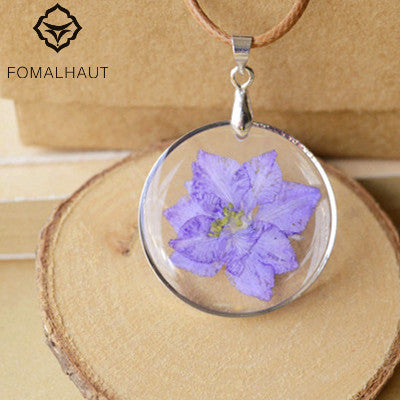 Natural dried delphinium flower Necklace