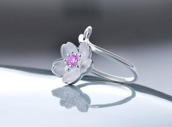 Silver Cherry Blossoms Rings