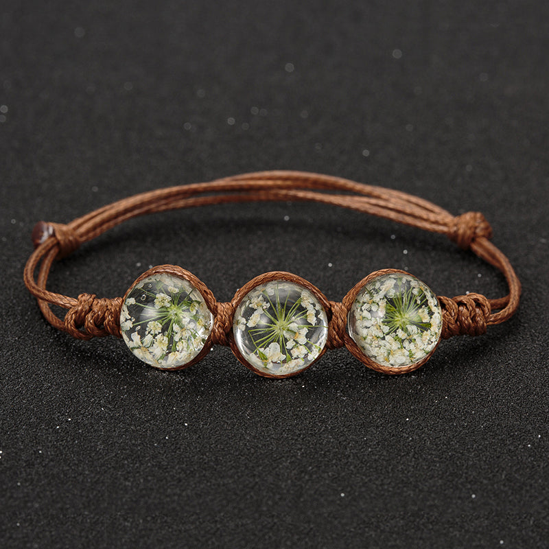 Vintage Charm Flower Glass Ball Bracelet