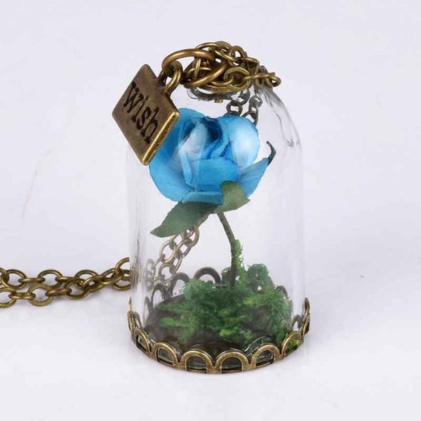 Vintage Glass Dried Flower Wishing Bottle Necklace