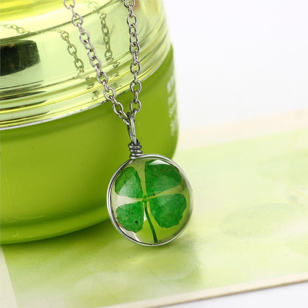 Silver Plated Vintage Lucky Clover  Dried  Flower
