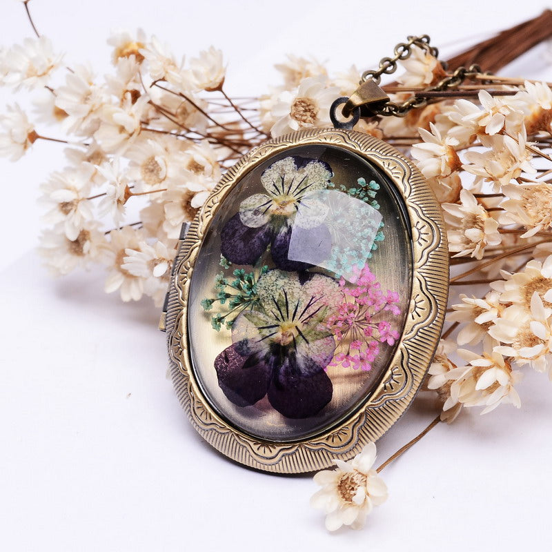 Real Dried Pansy Flower Locket Pendant Necklace
