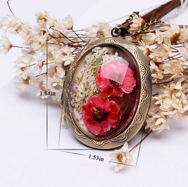 Real Dried Red Flower Locket Pendant Necklace