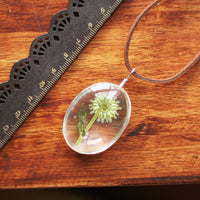Natural Dried Sunflower Oval Pendant Necklace