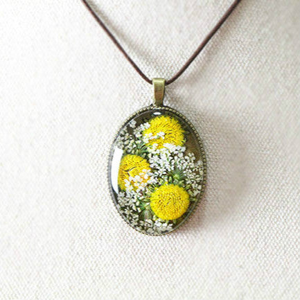 Real Sun Flower Glass Necklace