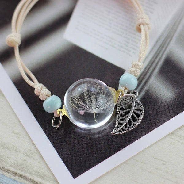 Glass Ball Dandelions Bracelet