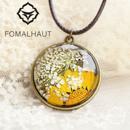 Hand-painted Dried Sun Flower Necklace