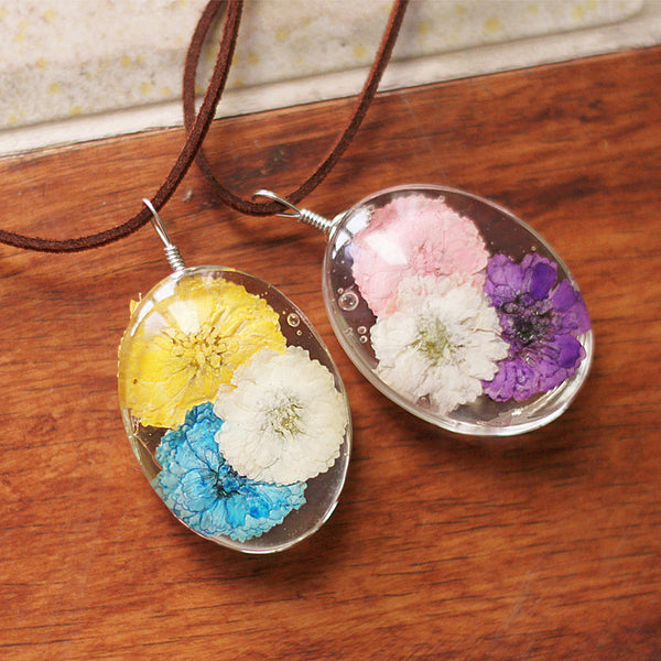 Real Dried Flowers Glass Necklace