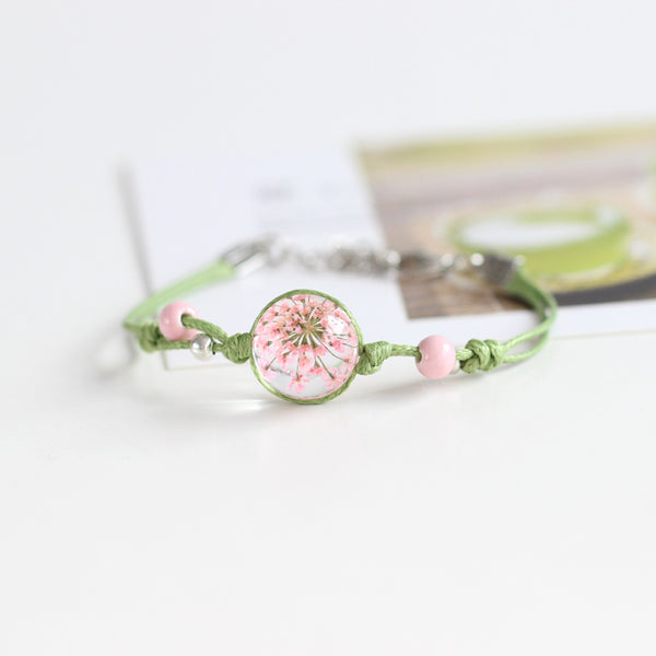 Fashion Glass Dried Flowers Bracelets