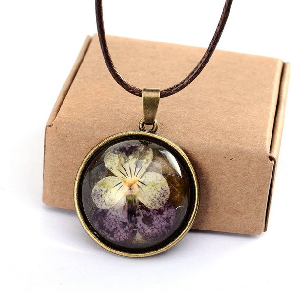 Real Dried Pansy Flower  Necklaces