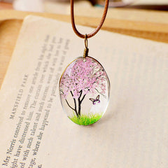 Handmade Dried Flower Butterfly Necklaces