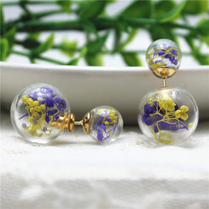 Glass Real dried flowers stud earring