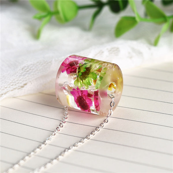 Charms Resin Real Dried Flowers Necklace