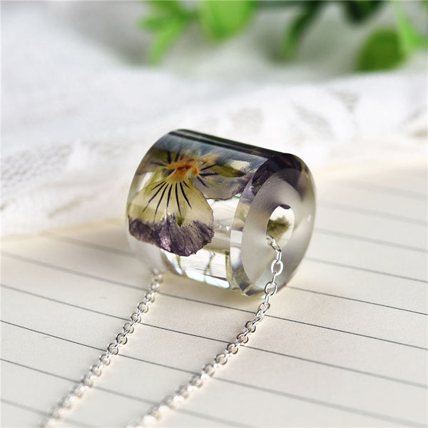 Charms Dried Pansy Flower Necklace