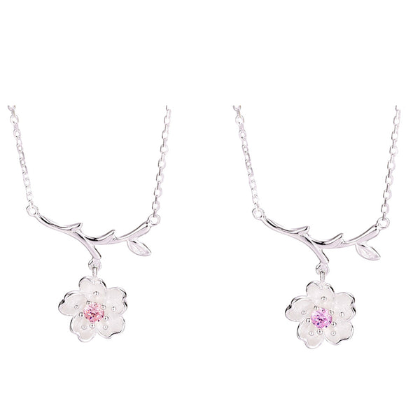 Silver Color Cherry Blossoms  Necklaces