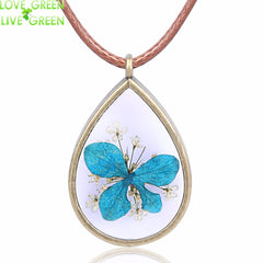 Glass Water Drop Blue Dried Flower Necklace