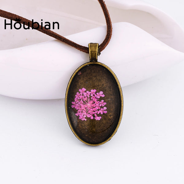 Creative Dried Flowers Glass Necklace