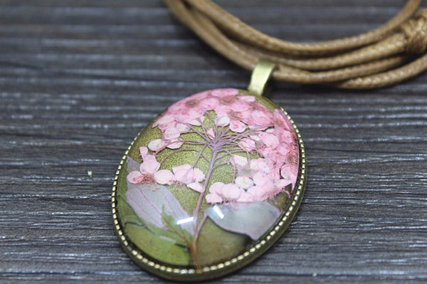 Cherry Blossom Crystal Glass Necklace