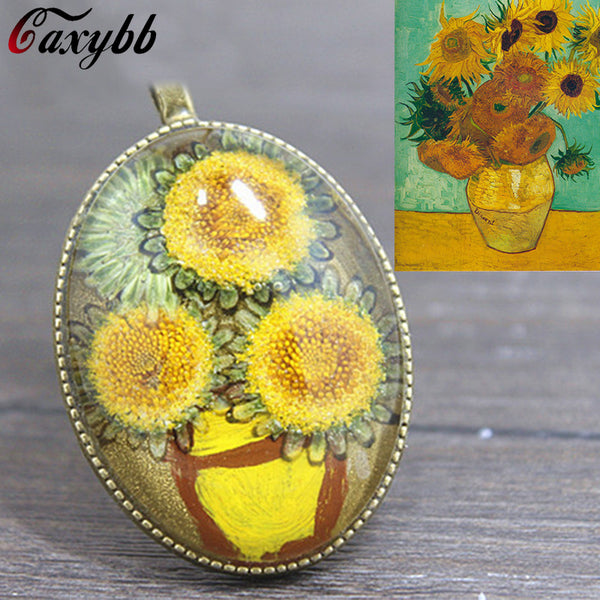 Van Gogh Sunflower Dried Flower Necklace