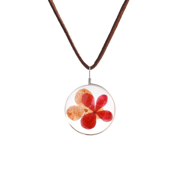 Real Pansy Dried Flower Necklace