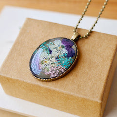 Simple Artistic Eternal Nature Pansy Dried Flower Necklace